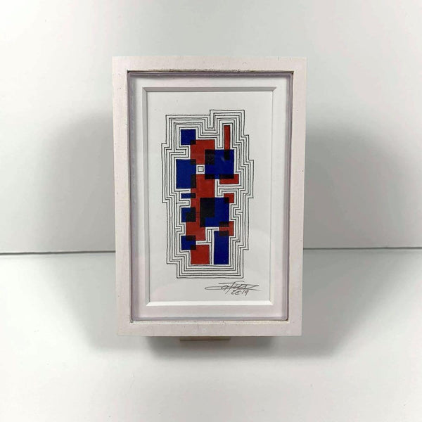 Framed Blue-Red Tiny Grid 1 - Original - MJS.ART
