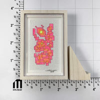 Framed Fluorescent Tiny Grid 2 - Original - MJS.ART