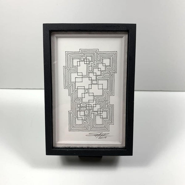 Framed Monochrome Tiny Grid 1 - Original - MJS.ART