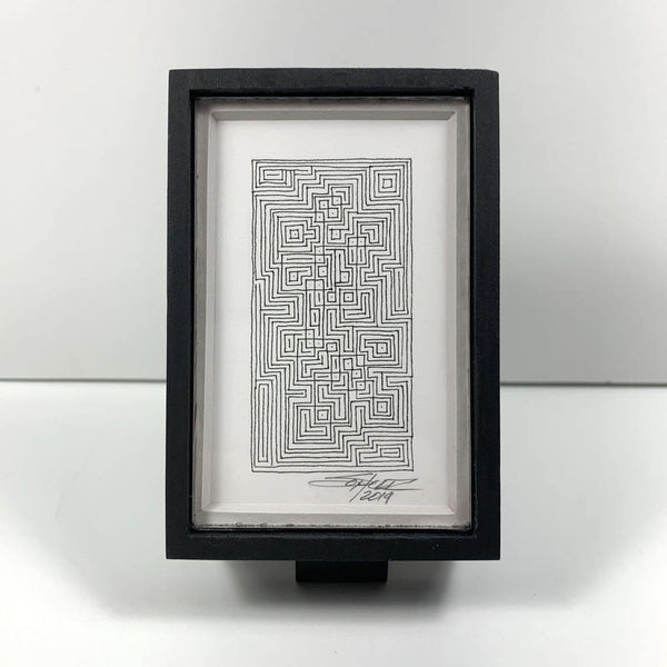 Framed Monochrome Tiny Grid 2 - Original - MJS.ART