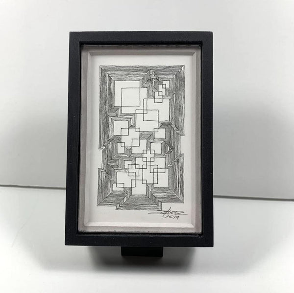 Framed Super Dense Tiny Grid 1 - Original - MJS.ART