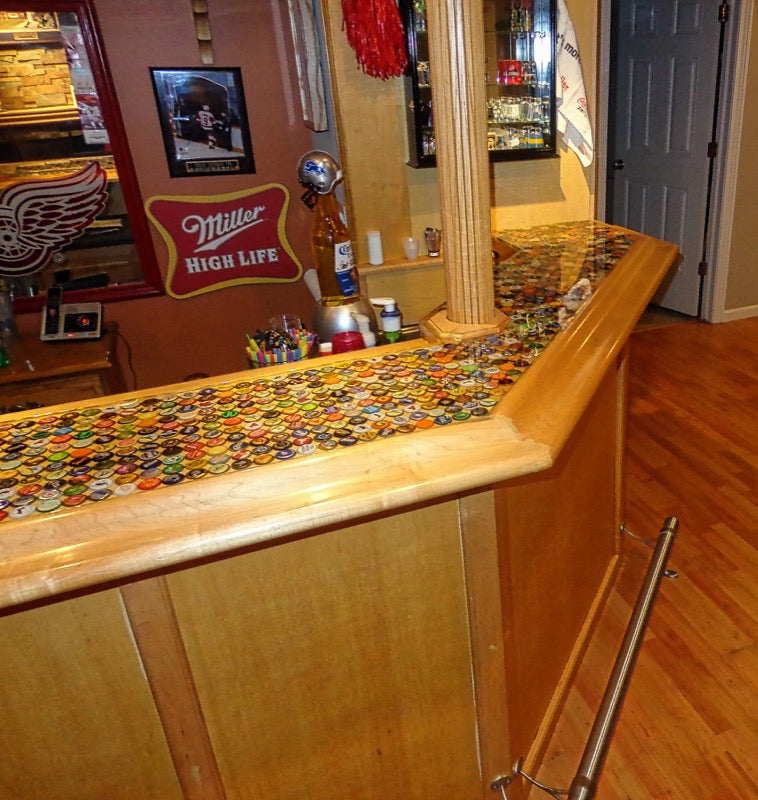 Bottle Cap Epoxy Bar Top