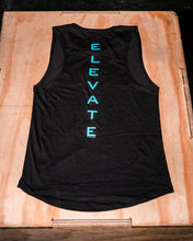 Load image into Gallery viewer, Elevate Fitness, EF Women's Origin Black Muscle Tank Back Logo
