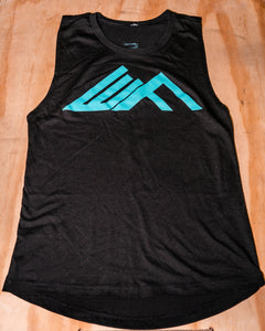 Elevate Fitness, EF Women's Origin Black Muscle Tank Front Logo