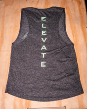 Load image into Gallery viewer, Elevate Fitness, EF Women's Origin Charcoal Muscle Tank Back Logo