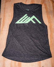 Load image into Gallery viewer, Elevate Fitness, EF Women's Origin Charcoal Muscle Tank Front Logo