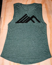 Load image into Gallery viewer, Elevate Fitness, EF Women's Origin Dark Green Muscle Tank Front Logo