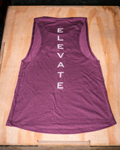 Load image into Gallery viewer, Elevate Fitness, EF Women's Origin Plum Muscle Tank Back Logo