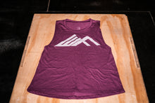 Load image into Gallery viewer, Elevate Fitness, EF Women's Origin Plum Muscle Tank Front Logo
