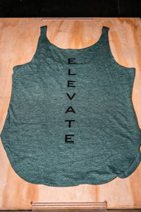Elevate Fitness, EF Women's Origin Dark Green Casual Tank Back Logo