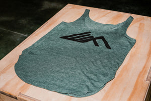 Elevate Fitness, EF Women's Origin Dark Green Casual Tank Front Logo