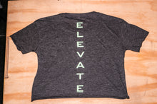 Load image into Gallery viewer, Elevate Fitness, EF Women's Origin Charcoal Crop Tee Back Logo