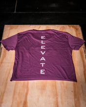 Load image into Gallery viewer, Elevate Fitness, EF Women's Origin Charcoal Crop Tee Front LogoElevate Fitness, EF Women's Origin Plum Crop Tee Back Logo