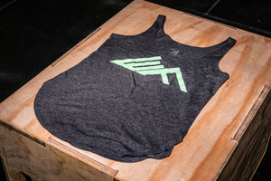 Elevate Fitness, EF Women's Origin Charcoal Casual Tank Front Logo