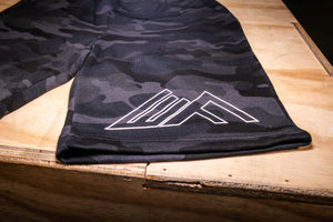 Elevate Fitness, EF Black Camo Shorts Close Up