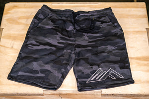 Elevate Fitness, EF Black Camo Shorts Front View
