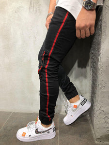 Striped Jogger Jeans Elastic Ankle Ring Detail 3929