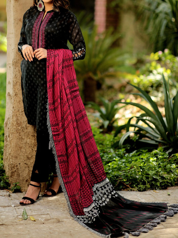3 PC Unstitched Embroidered Lawn with Tarkashi Duppata