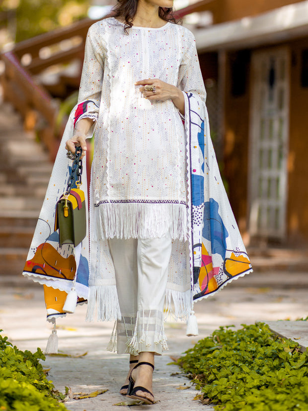 3 PC Unstitched Digital Printed Lawn - VL406