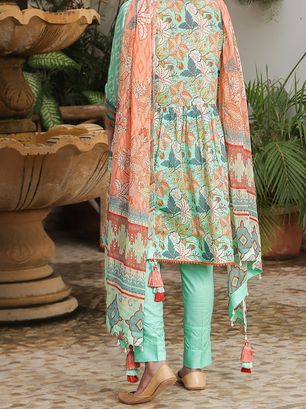 Digital Printed Lawn unstitched suit with Chiffon Dupatta
