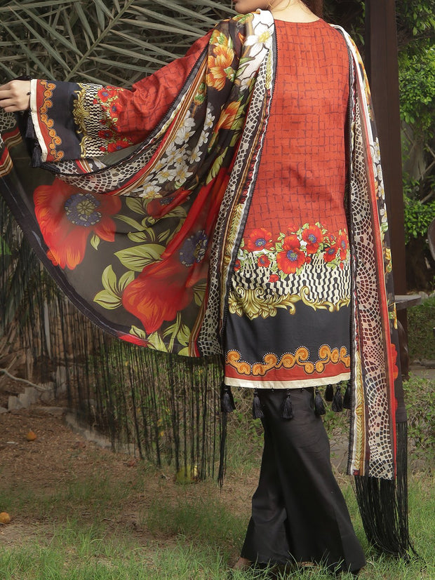 Embroidered Lawn unstitched suit with Chiffon Dupatta