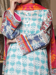 Embroidered Lawn unstitched suit with Lawn Dupatta
