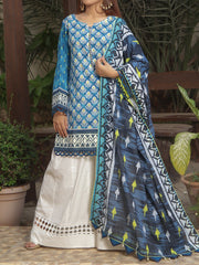 Digital Printed Lawn unstitched suit with Tarkashi Dupatta