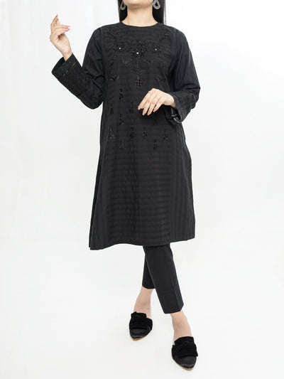 Embroidered Stithed Kurti - Black