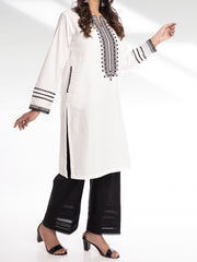 Embroidered Stitched Kurti - White
