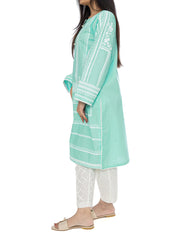 Printed Stitched Kurti - Sea Green