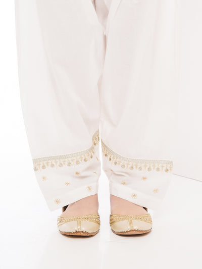 Embroidered Shalwar - Off White