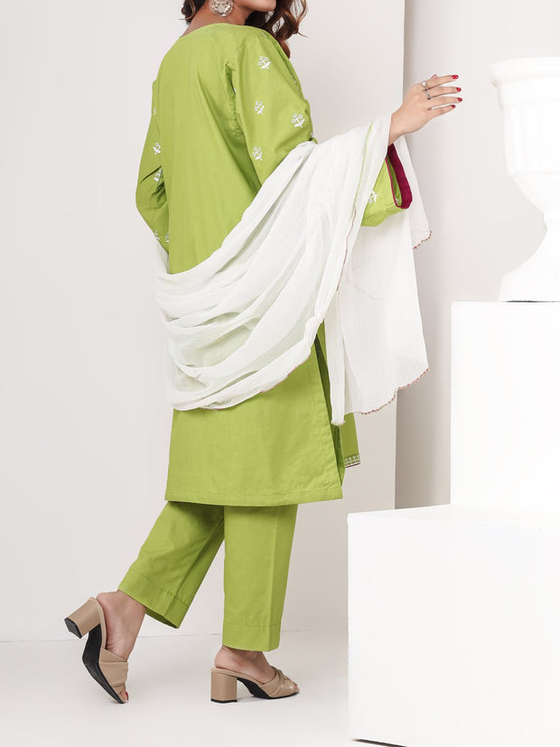3 Piece Embroidered Stitched Suit - Parrot Green
