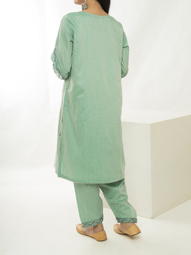 Women Embroidered Stitched Suit - Green