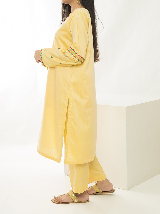 2 Piece Embroidered Stitched Suit - Yellow