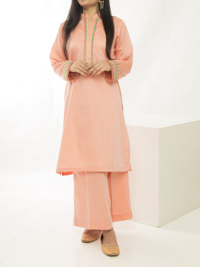 Women Embroidered Stitched Suit - Orange