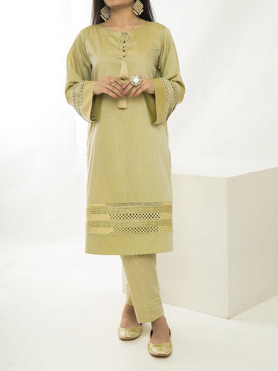 Women Embellished Stitched Suit - Golden