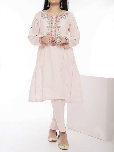 2 Piece Embroidered Stitched Suit - Pink
