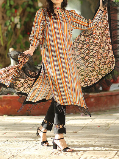 3 PC Unstitched Digital Printed Lawn with Chiffon Duppata