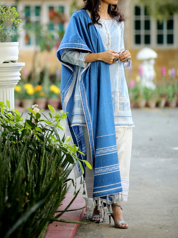 3 PC Unstitched Digital Printed Lawn