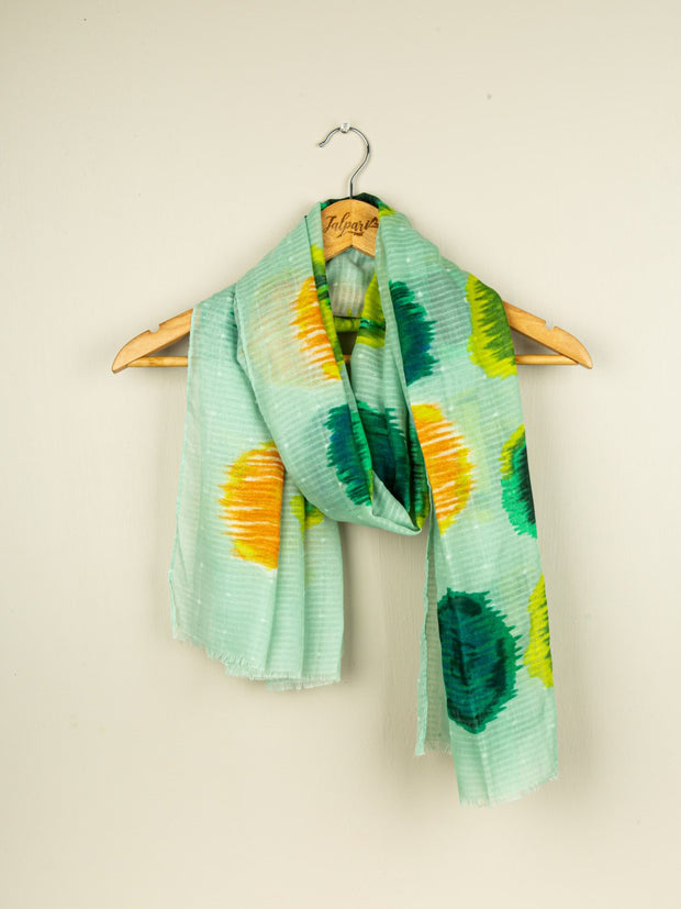 Printed Lawn Stole - Mint Green