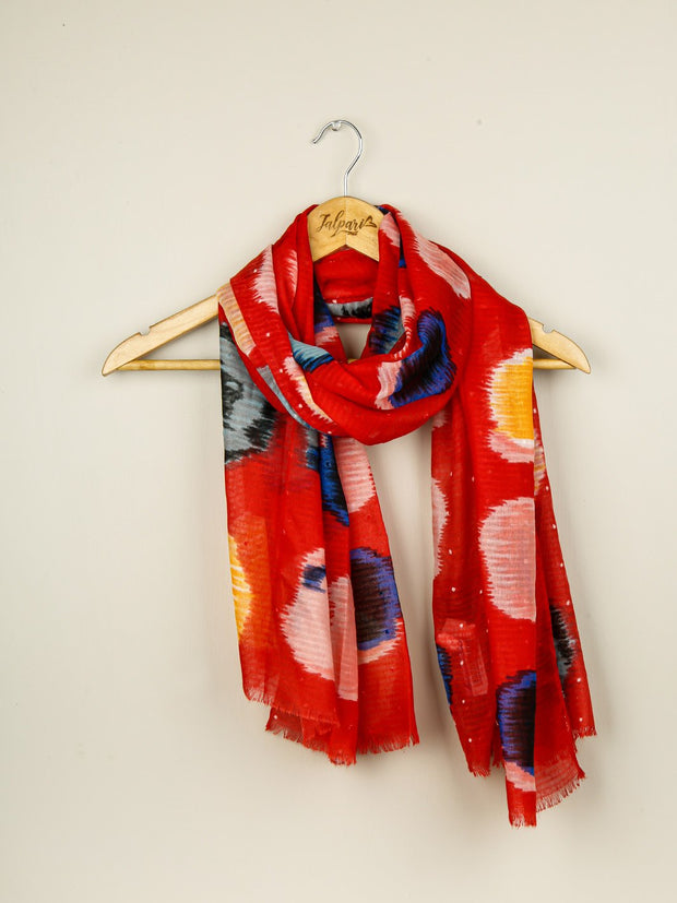 Printed Lawn Stole - Red