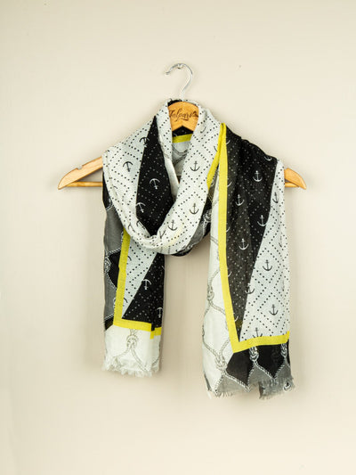 Printed Lawn Stole - Black