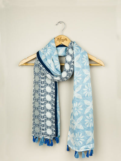 Printed Embellished Lawn Stole - Light Blue