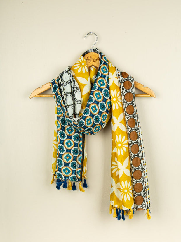 Printed Embellished Lawn Stole - Mustard