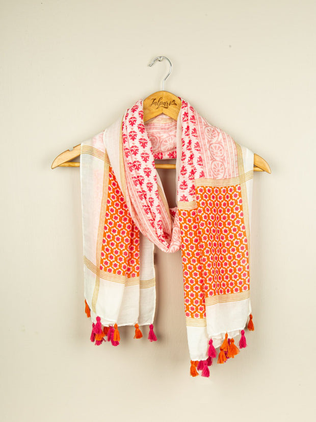 Printed Embellished Lawn Stole - Pink
