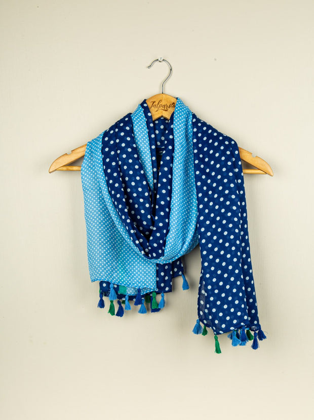 Printed Embellished Lawn Stole - Blue