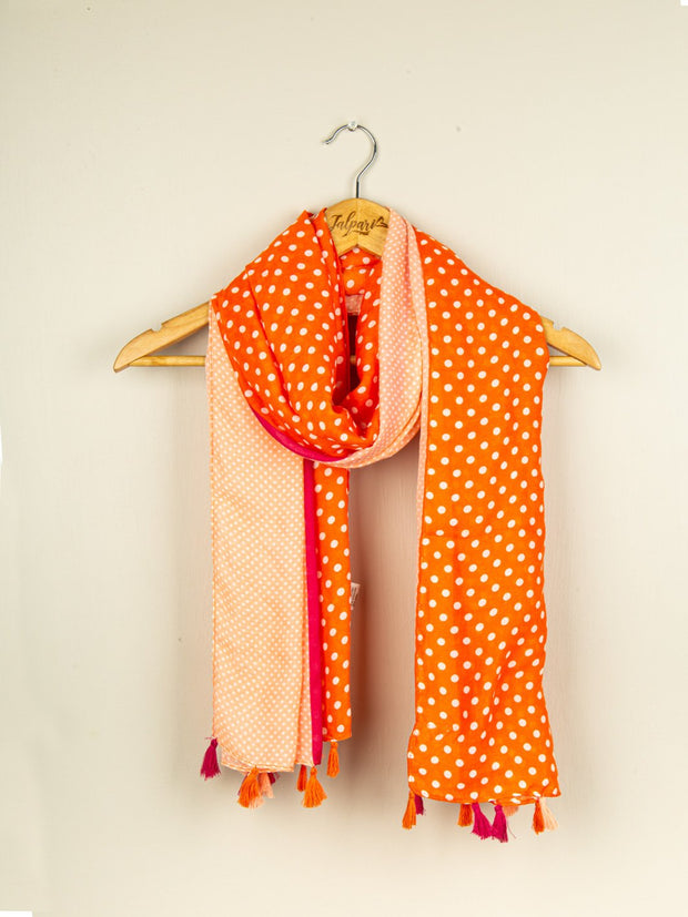 Printed Embellished Lawn Stole - Orange