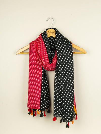 Printed Embellished Lawn Stole - Red