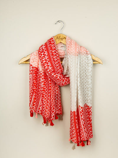 Printed Embellished Lawn Stole - Peach