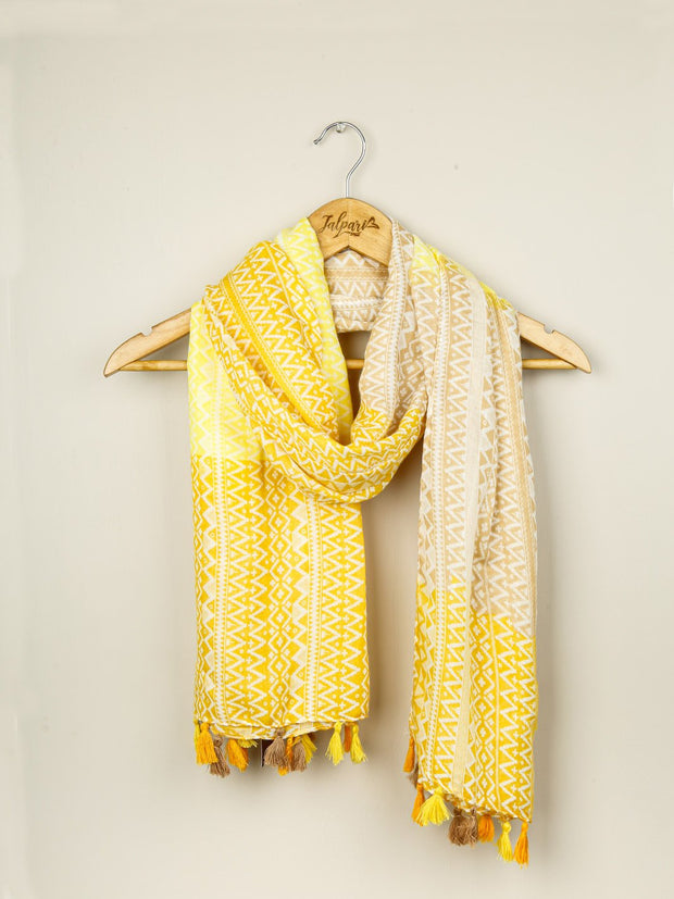 Printed Embellished Lawn Stole - Yellow